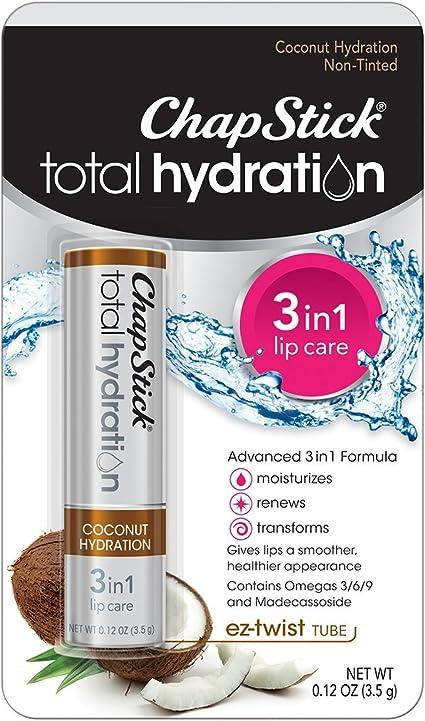 ChapStick Total Hydration Coconut Lip Balm Tube, Hydrating Coconut ChapStick for Lip Care - 0.12 Oz