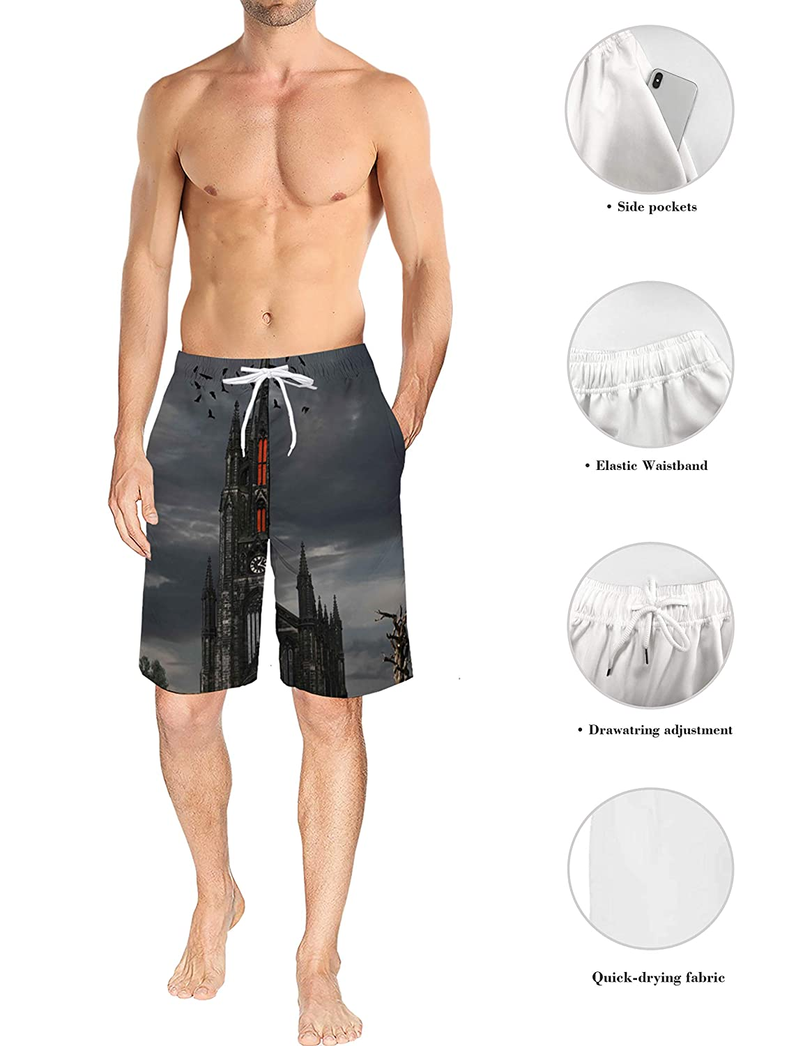 Blooming Cherry Blossoms Surf Beach Pants with Mesh Lining Mens Lightweight Slim Fit Quick Dry Beach Shorts