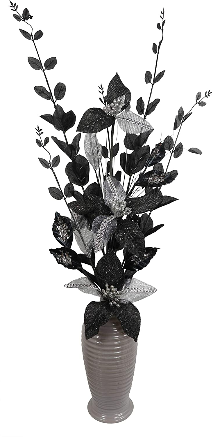 Black And Grey Artificial Flowers In Vase Room Decor Tall 80cm Amazon Co Uk Kitchen Home