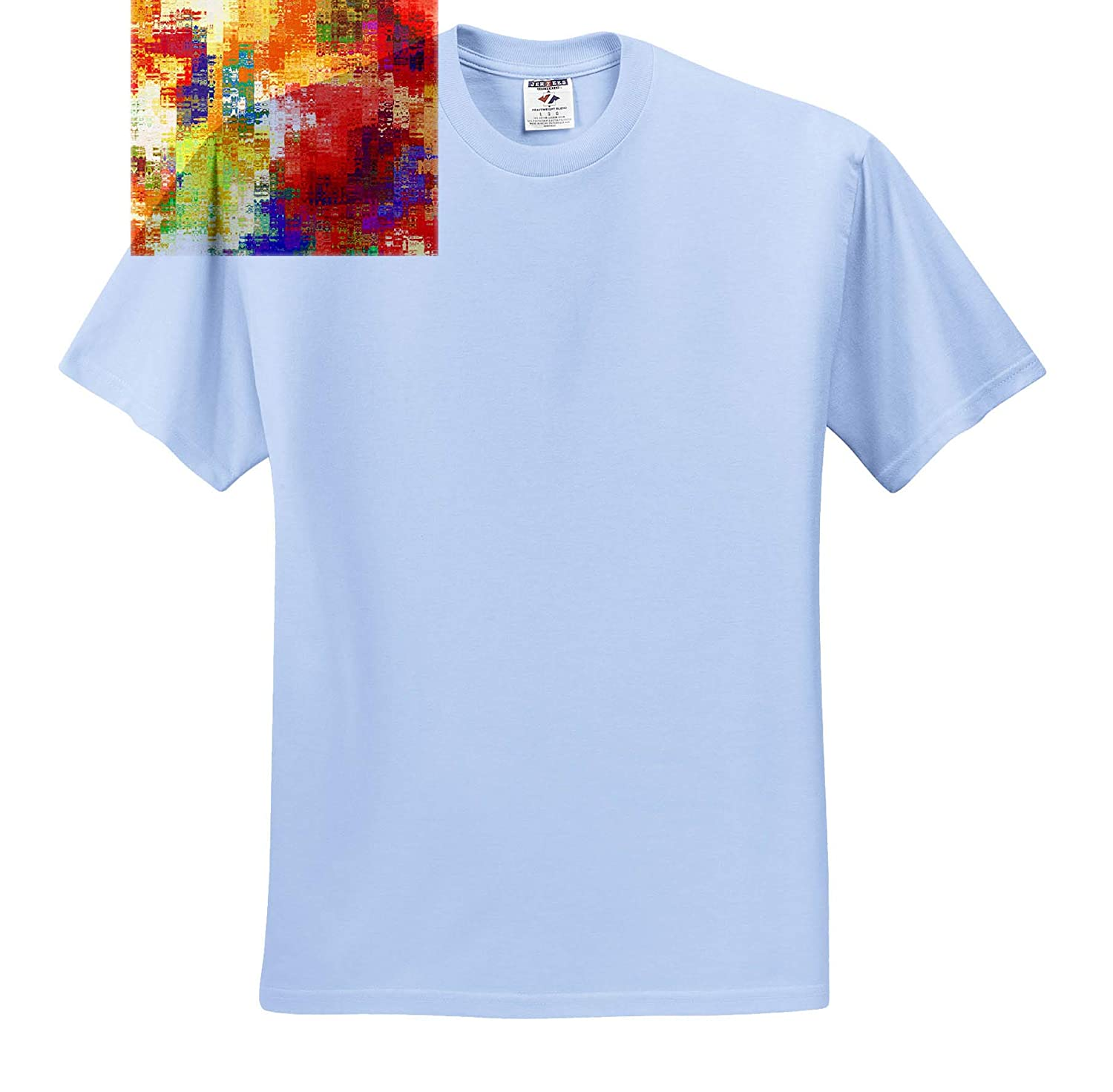 T-Shirts Digital Painting 3dRose Lens Art by Florene Image of Bright Bold Primary Colors in Cubed Lines