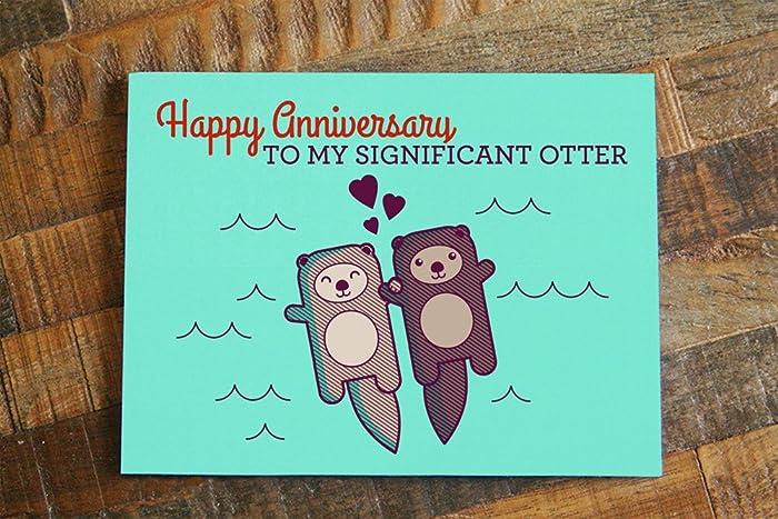 cute otter pun anniversary card happy anniversary to my significant - Happy Anniversary Cards