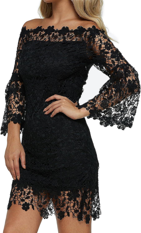 Auxo Donna Abiti Elegante retr/ò Abiti Vestito Senza Spalle a Maniche Lunghe con Pizzo Floreale Dress Classico Vintage Rockabilly Cocktail Festa