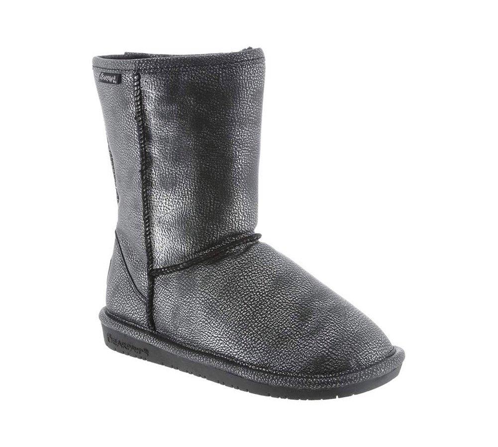 BEARPAW Womens Emma Short Boot Black/Silver Size 5