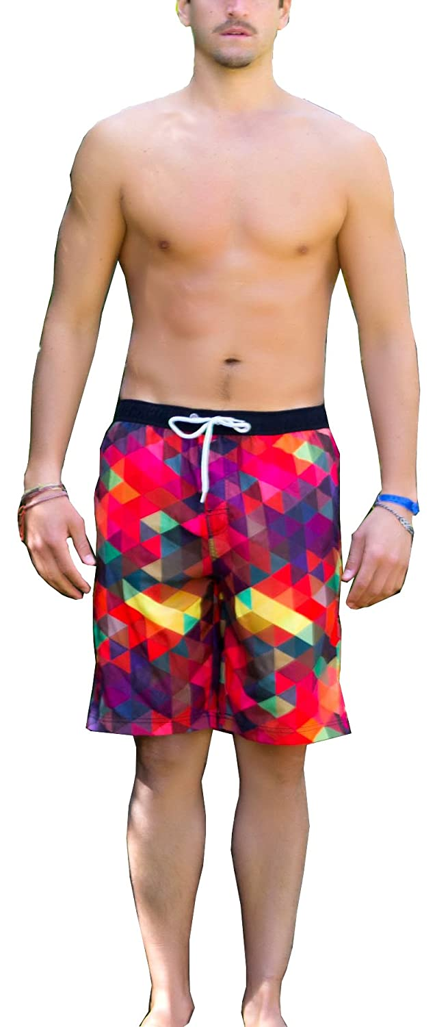 WUAMBO Athletic Mens Quickly Drying Board Shorts Flamingo Printed Swim Trunk