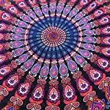 Glumes Large Round Picnic Mat Beach Blanket with Tassels Ultra Soft Super Water Absorbent Multi-Purpose Towel 59 inch across Multifunctional Purposes Blanket, Wash machine easy wash