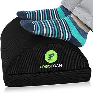ErgoFoam Adjustable Desk Foot Rest for Added Height (Mesh) - Large Premium Under Desk Footrest | Pet-Friendly Foot Rest Under Desk for Lumbar, Back, Knee Pain | Foot Stool Rocker (Black)