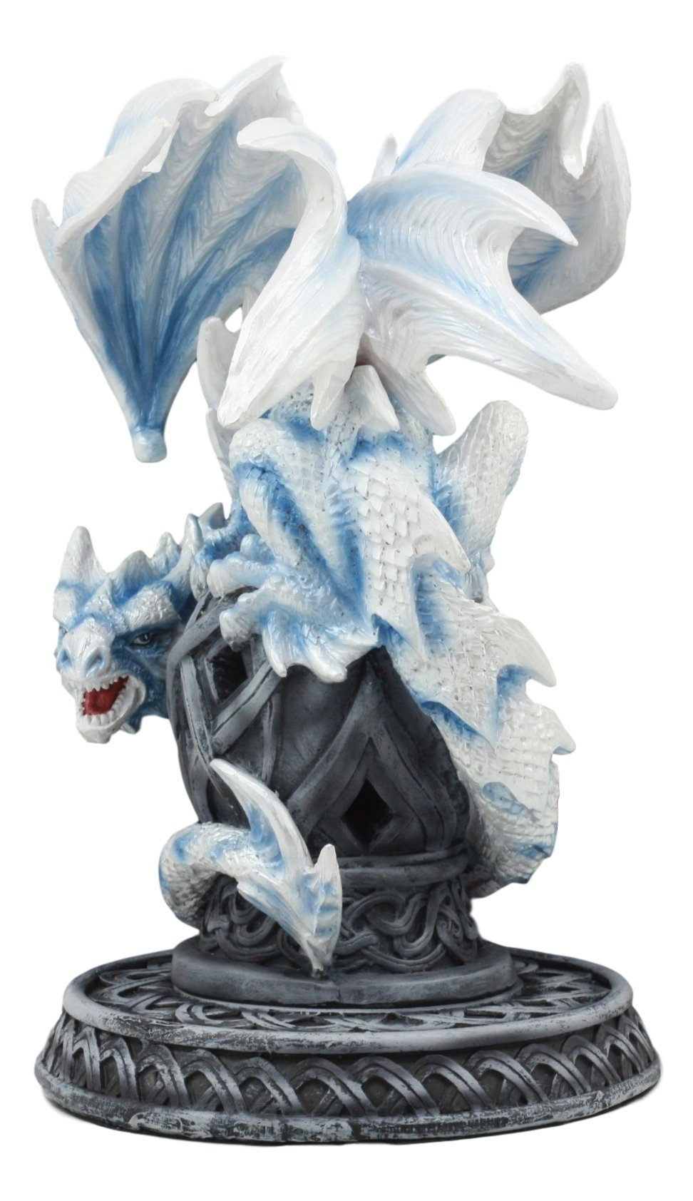 Ebros Guardian of Celtic Tomb White Icycle Dragon Backflow Cone Incense Holder Statue 8.5''Tall Fantasy Icelandic Dragon LED Tea Light Candle Holder Figurine by Ebros Gift (Image #3)