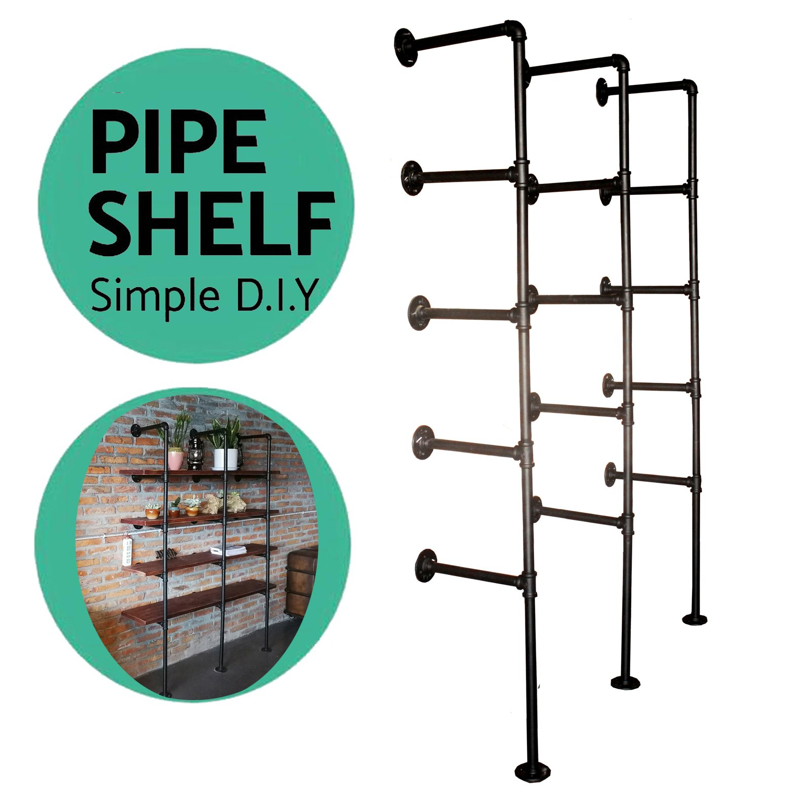 Industrial French Country Style Decorative Pipe Wooden Wall ShelvesRustic DIYCeiling Five-layer Pipe Shelf Wall Vintage Hung Bracket Industrial Shelves (five-layer × 3) by Topower