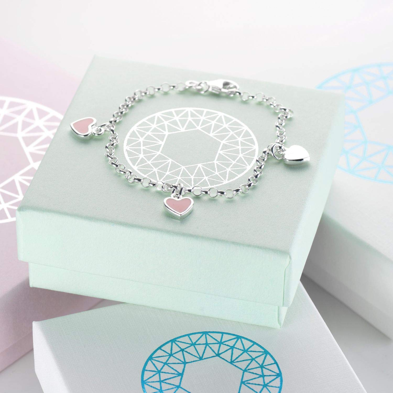 Materia SA-100 Bracelet pour enfant en forme de c/œur rose en argent 925 avec /émail 16 cm