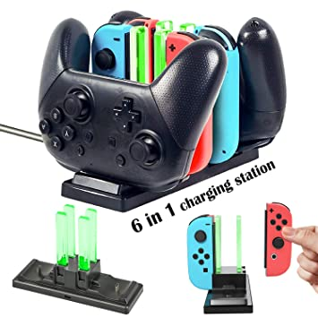 EEEKit 6 en 1 Controlador Cargador, estación de Soporte de Carga para Nintendo Switch Joy-con Controladores y Controladores Pro con indicador de Carga