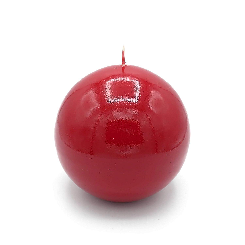 GIRM® KIT00011 Set 4 candele a sfera color rosso ⌀ 8 cm. Decorazione natalizia, candela di Natale, centrotavola di natale