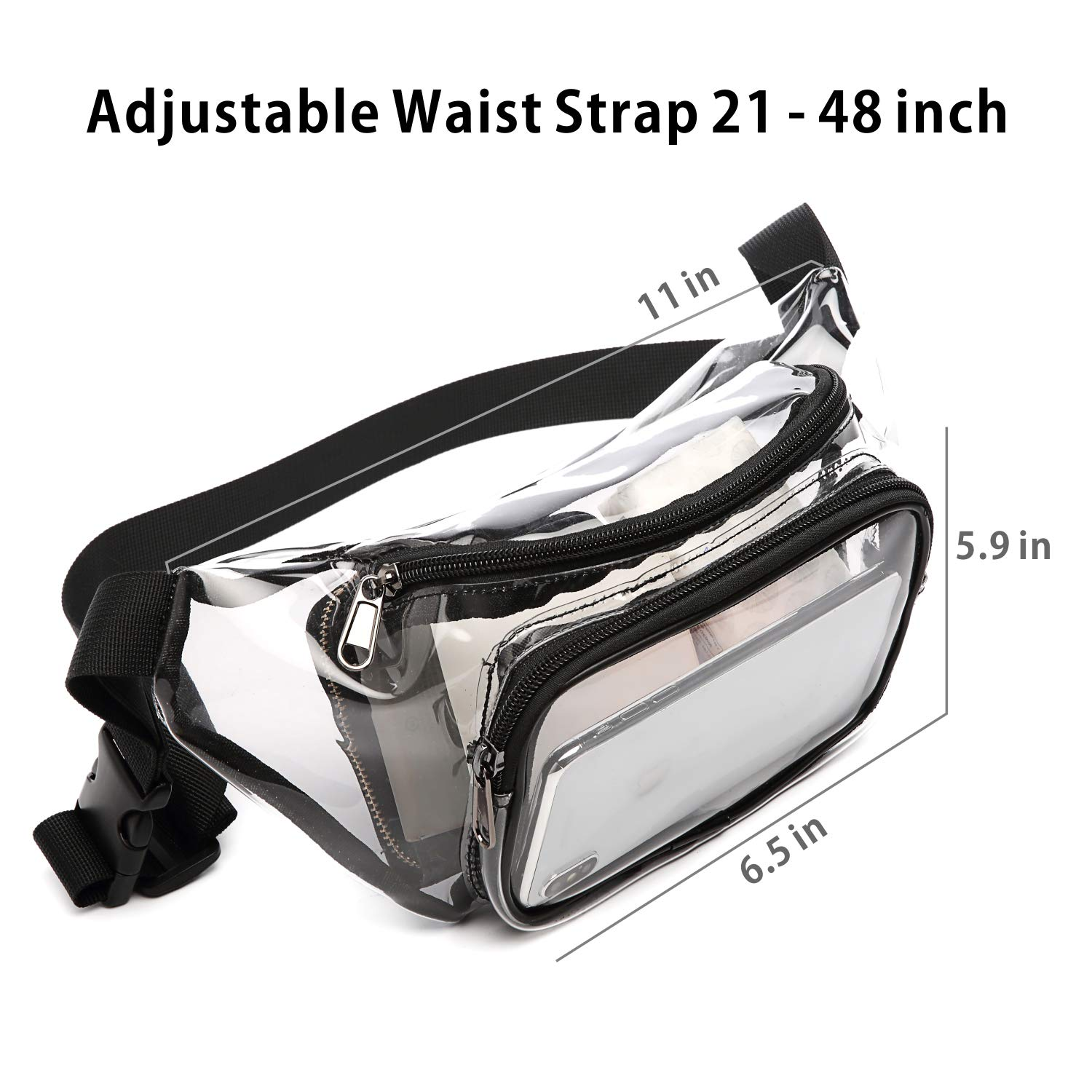 Men BuyAgain Cute Clear Waist Bag Approved for NFL Games Concert Travel Fit for Women Clear Fanny Pack Black