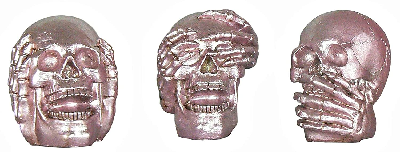 Pink Hear No Evil, See No Evil, Speak No Evil Halloween Skulls - 3 pc Silver Patina (Pink Patina) Momentum Brands