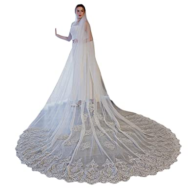 Womens 3 Meters 1 Tire Free Comb Lace Tulle Wedding Veils for Bride (Ivory)