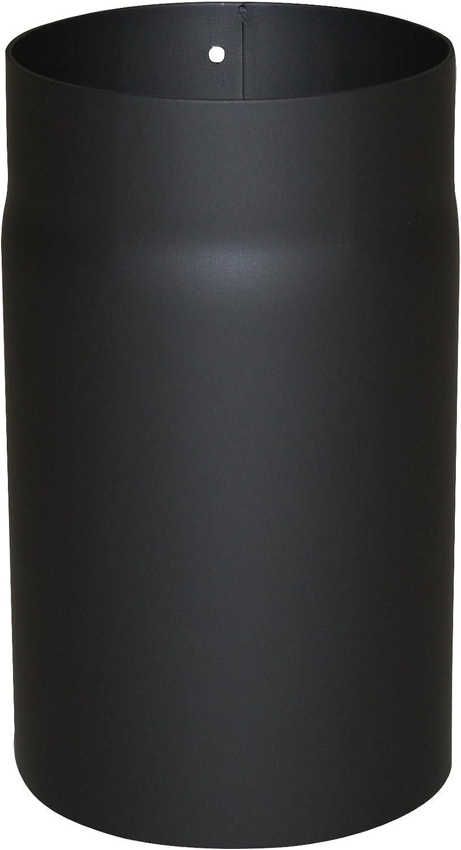 Kamino - Flam – Tubo para chimenea y estufa de leña, Conducto de humos – resistente a altas temperaturas, Negro, Ø 150 mm/longitud 250 mm