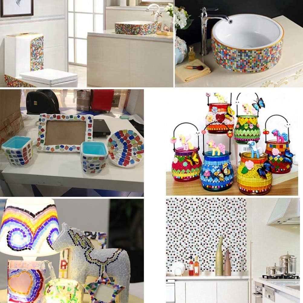 Piedras de Mosaico Multicolor para Manualidades Arte decoraci/ón dom/éstica Bricolaje Artesanal THETHO 500g Mosaico de Cristal de 1x1cm