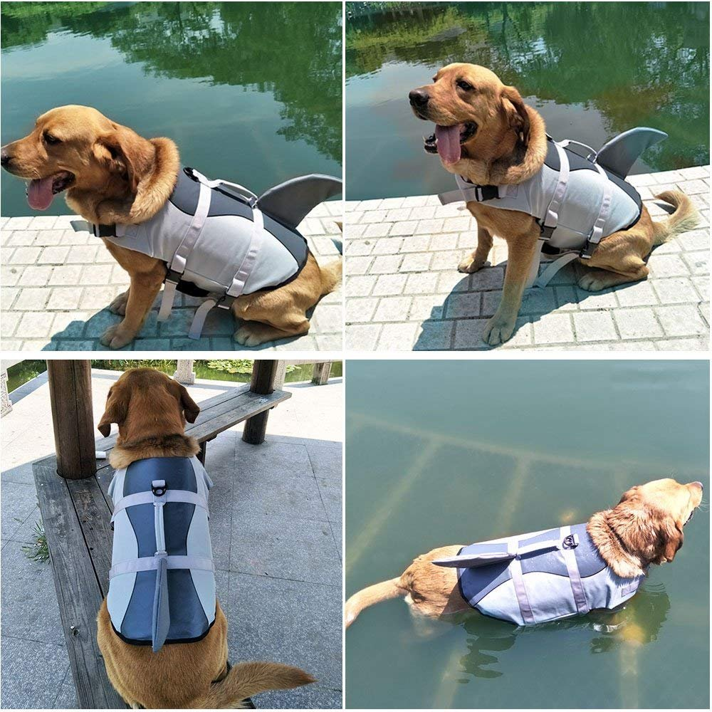 yoyoung Dog Life Jackets for Dogs Lifesaver Life Jacket Dogs Swimming Vest Ripstop Pet Floatation Life Vest Preserver Swimsuit for Small, Middle, Large Size Dogs (XS, Shark Dog Life Jacket)