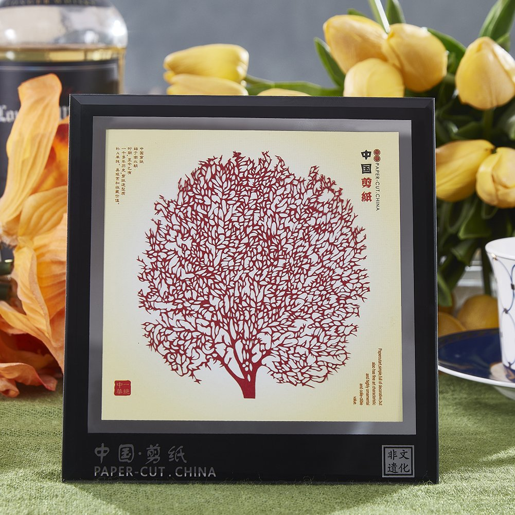 MingBo Framed Artwork of Chinese Paper Cut, Displays Chinese Style of Colorful Paper Cutting Handicrafts Small Gifts for Souvenirs,6 x 5.5 Inches, Magpies & Plum Blossom