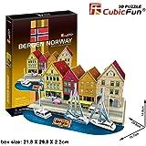 Cubic Fun 3D 44 Parça Puzzle Bergen İskelesi - Norveç