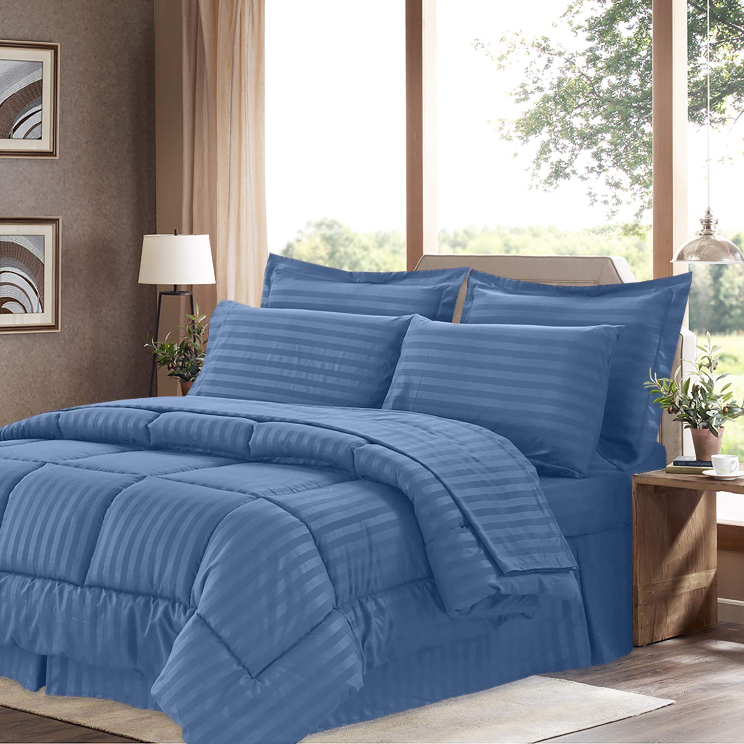 Sweet Home Collection 8 Piece Comforter Set Bag with Dobby Stripe Design, Bed Sheets, 2 Pillowcases, 2 Shams Down Alternative All Season Warmth, Queen, Denim