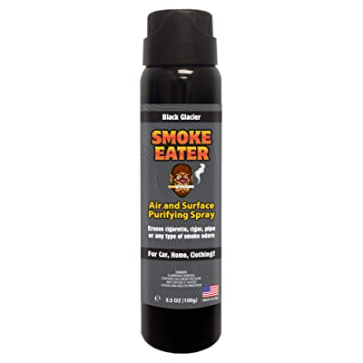 Smoke Eater - Breaks Down Smoke Odor at The Molecular Level - Eliminates Cigarette, Cigar or Pot Smoke On Clothes, in Cars, Homes, and Office - 3.5 oz Travel Spray Bottle (Black Glacier AEROSOL): Automotive