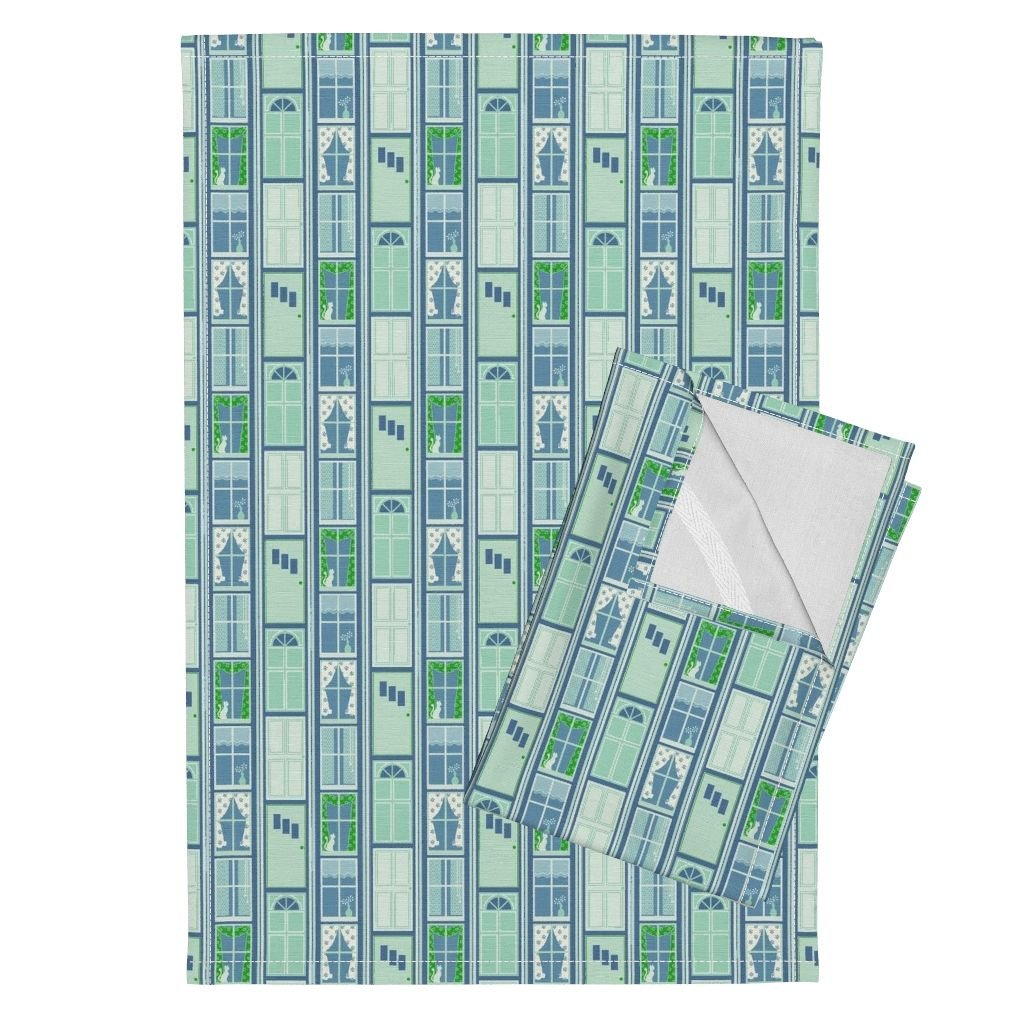 Roostery White Cat Tea Towels Doors and Windows - Stone Blue by Siya Set of 2 Linen Cotton Tea Towels