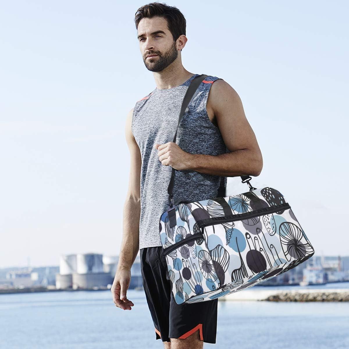 MALPLENA Blue Blotch Shading Plant Pattern Packable Duffle Bag For Men Women Tear Resistant Sports Duffle