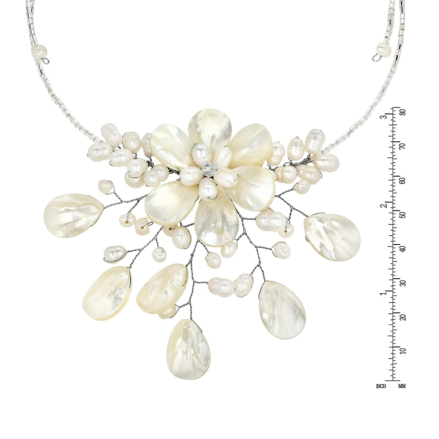 AeraVida Pretty White Mother of Pearl Cultured Freshwater Pearl Floral Choker Wrap Necklace