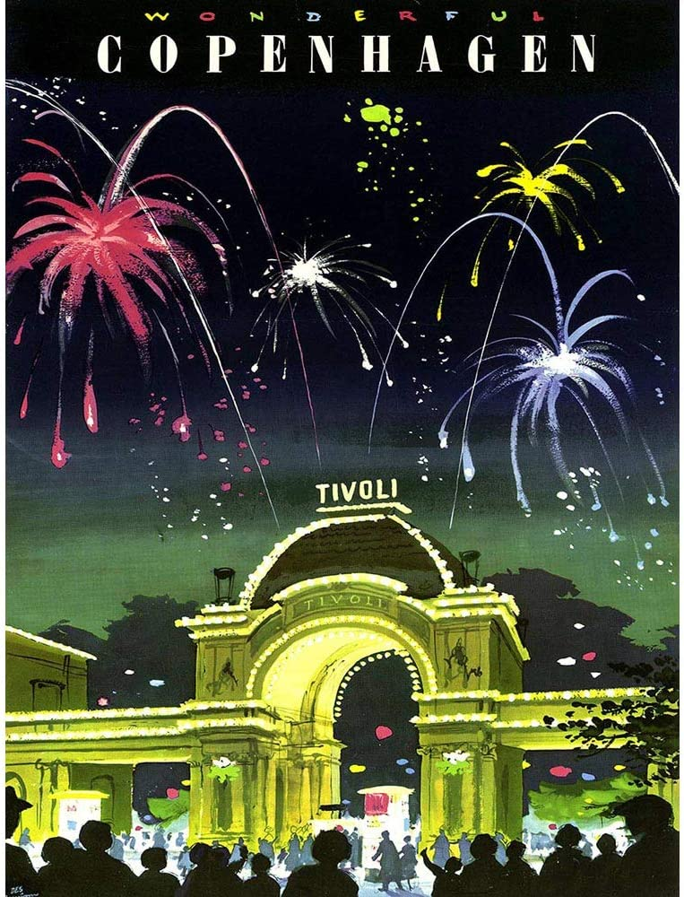 Wee Blue Coo Travel Tourism Copenhagen Denmark Tivoli Gardens Fireworks Vintage Unframed Wall Art Print Poster Home Decor Premium