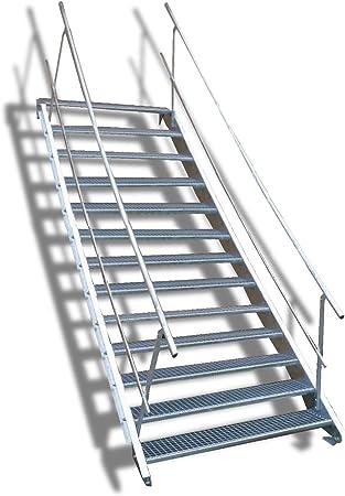 13 escalera de acero Escaleras con doble cara barandilla/Nivel Planta ancho 70 cm/Altura 195 –