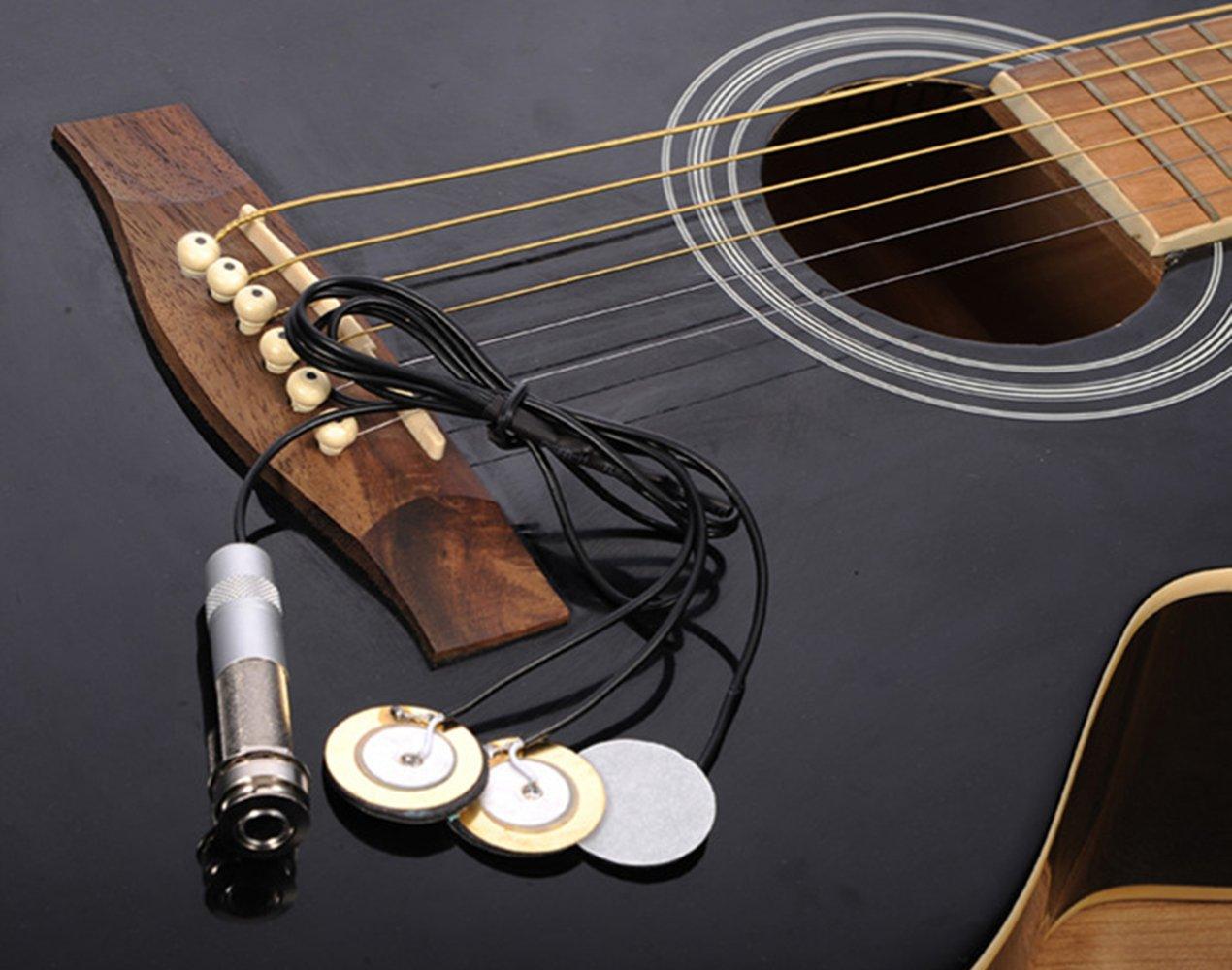 Pickup Piezo transductor para instrumentos de guitarra acústica, Micrófono Contacto 3 en 1 & Endpin Jack 6mm para Guitarra Violín Ukulele con 6 Plectro: ...