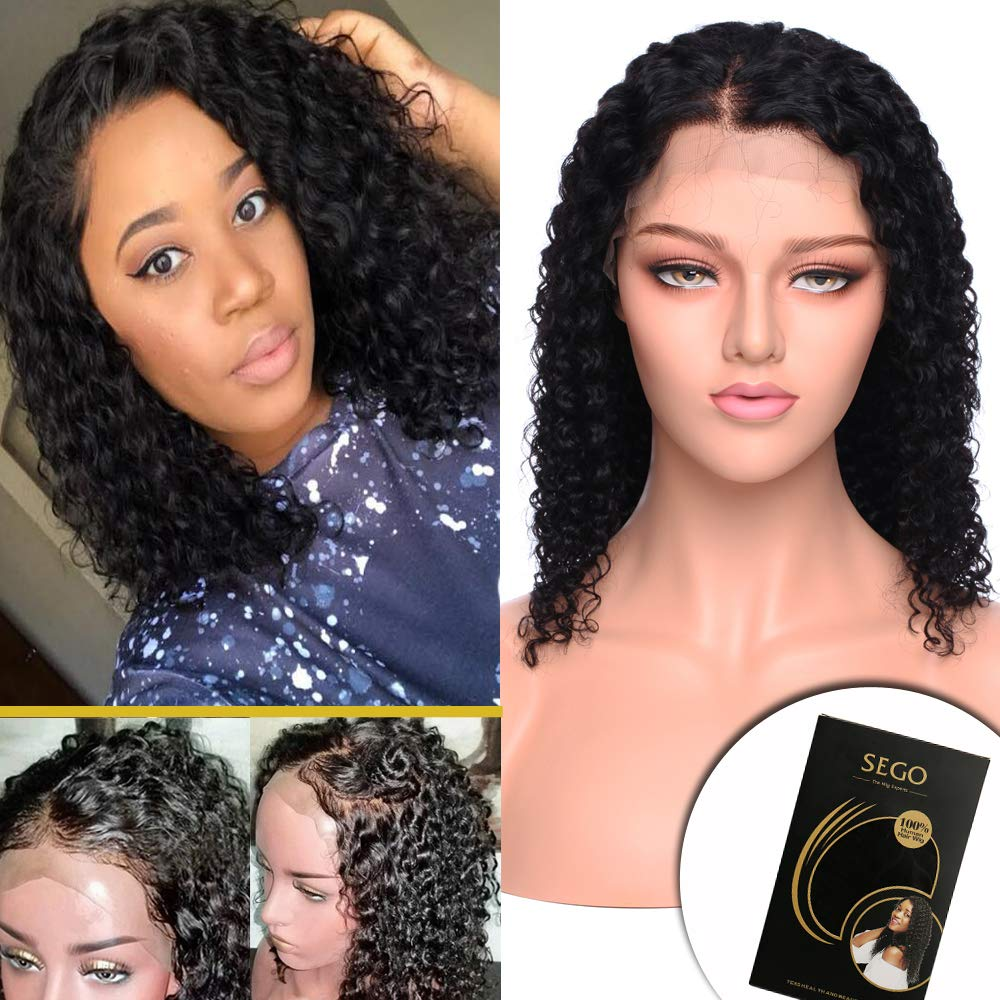Amazon Com 14 Inch Curly Bob Lace Front Wig Human Hair With Baby Hair For Black Women Deep Wave Brazilian Virgin Hair Wigs Glueless Swiss Lace Front Pre Plucked 130 Density Natural Black