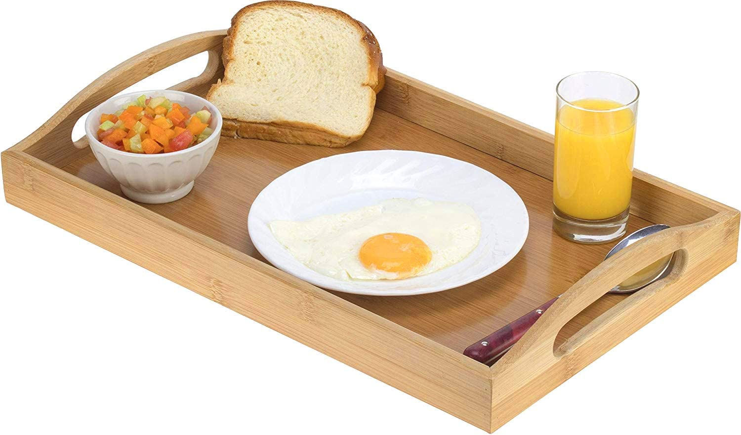 Amazon Com Serving Tray Bamboo Wooden Tray With Handles Great For Dinner Trays Tea Tray Bar Tray Breakfast Tray Or Any Food Tray Good For Parties Or Bed Tray Kitchen