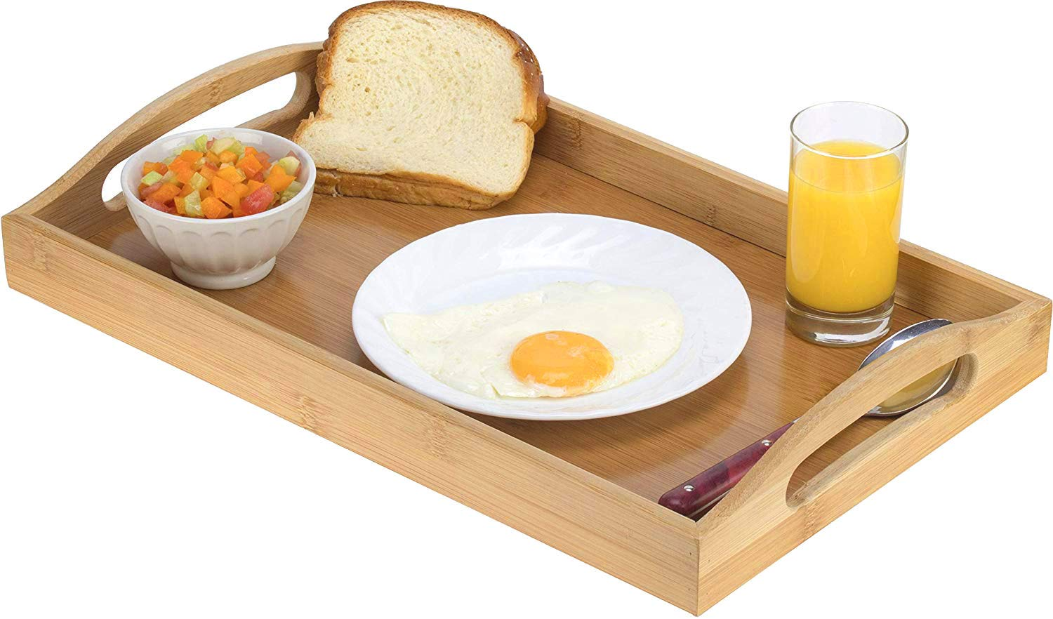 Serving tray bamboo - wooden tray with handles - Great for dinner trays, tea tray, bar tray, breakfast Tray, or any food tray - good for parties or bed tray