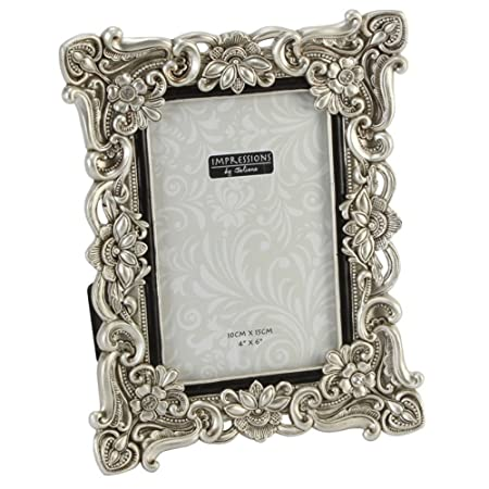 Floral Antique Silver Photo Frame 4 x 6: Amazon.co.uk: Kitchen & Home