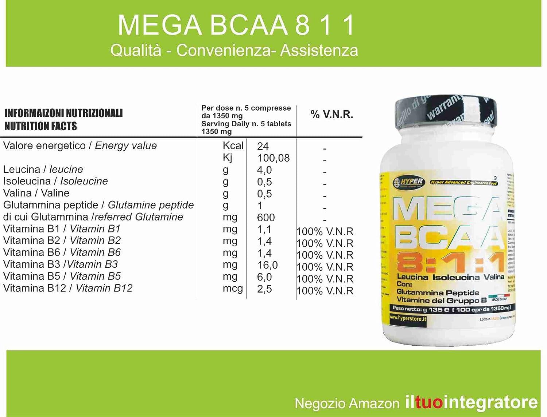 BCAA 8: 1: 1 Aminoácidos ramificados 400 tabletas 540 gr mejorado con Péptido de glutamina Grupo de Vitaminas B (8 leucina, 1 isoleucina, ...