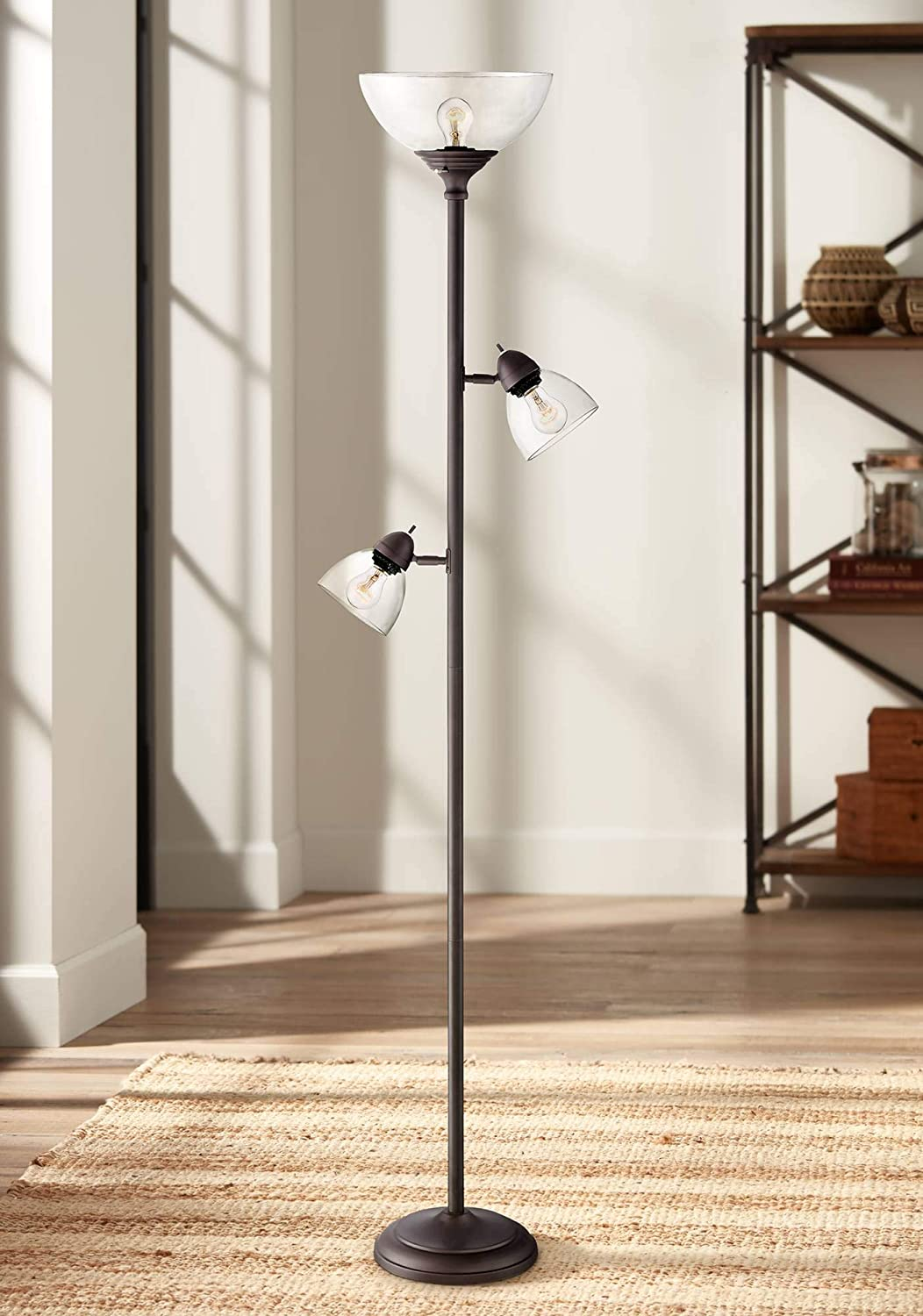 Riley Modern Torchiere Floor Lamp 3-Light Tree Painted Bronze Clear Glass Shade for Living Room Reading Bedroom Office – 360 Lighting