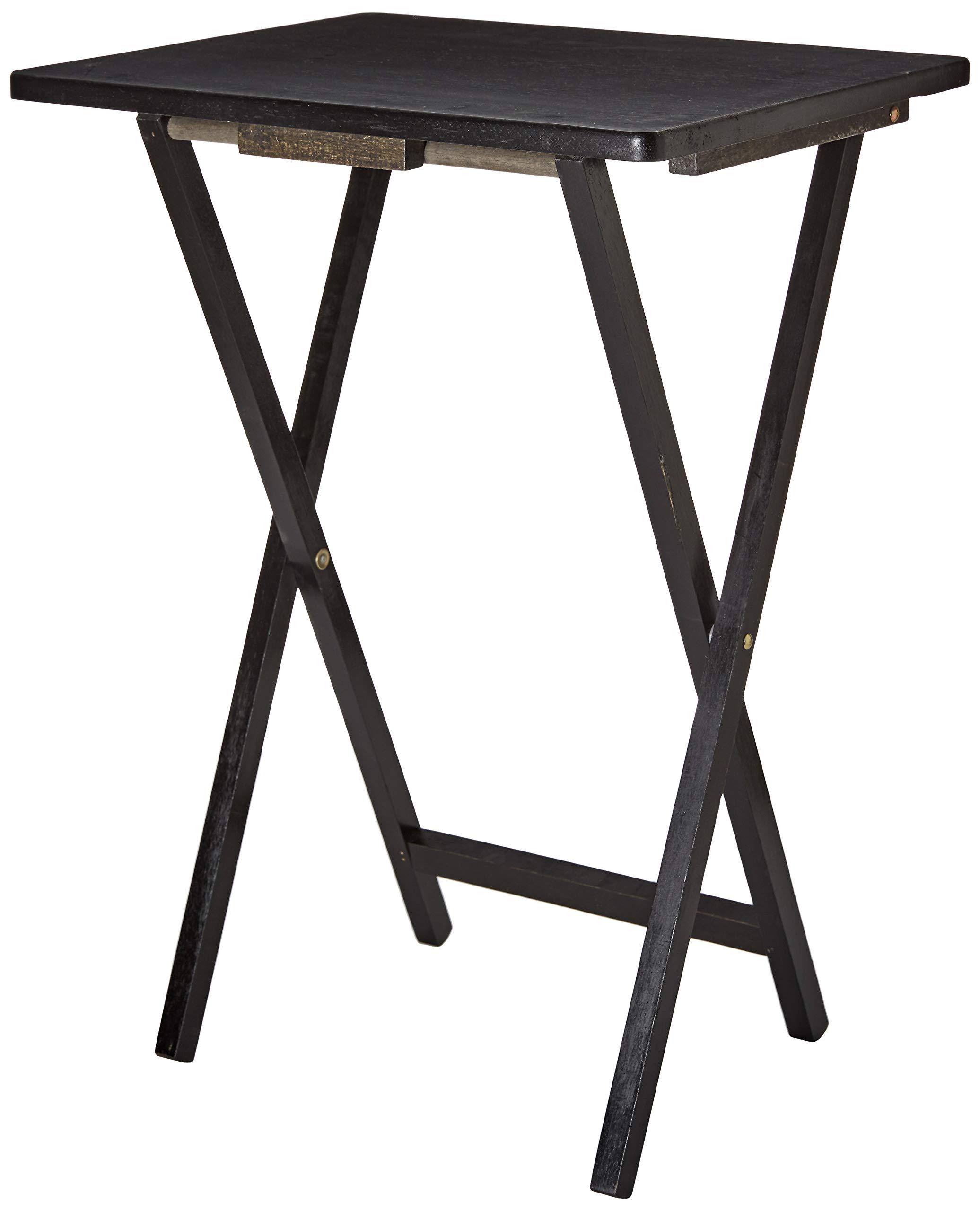 PJ Wood Folding TV Tray & Snack Table - Black by PJ Wood