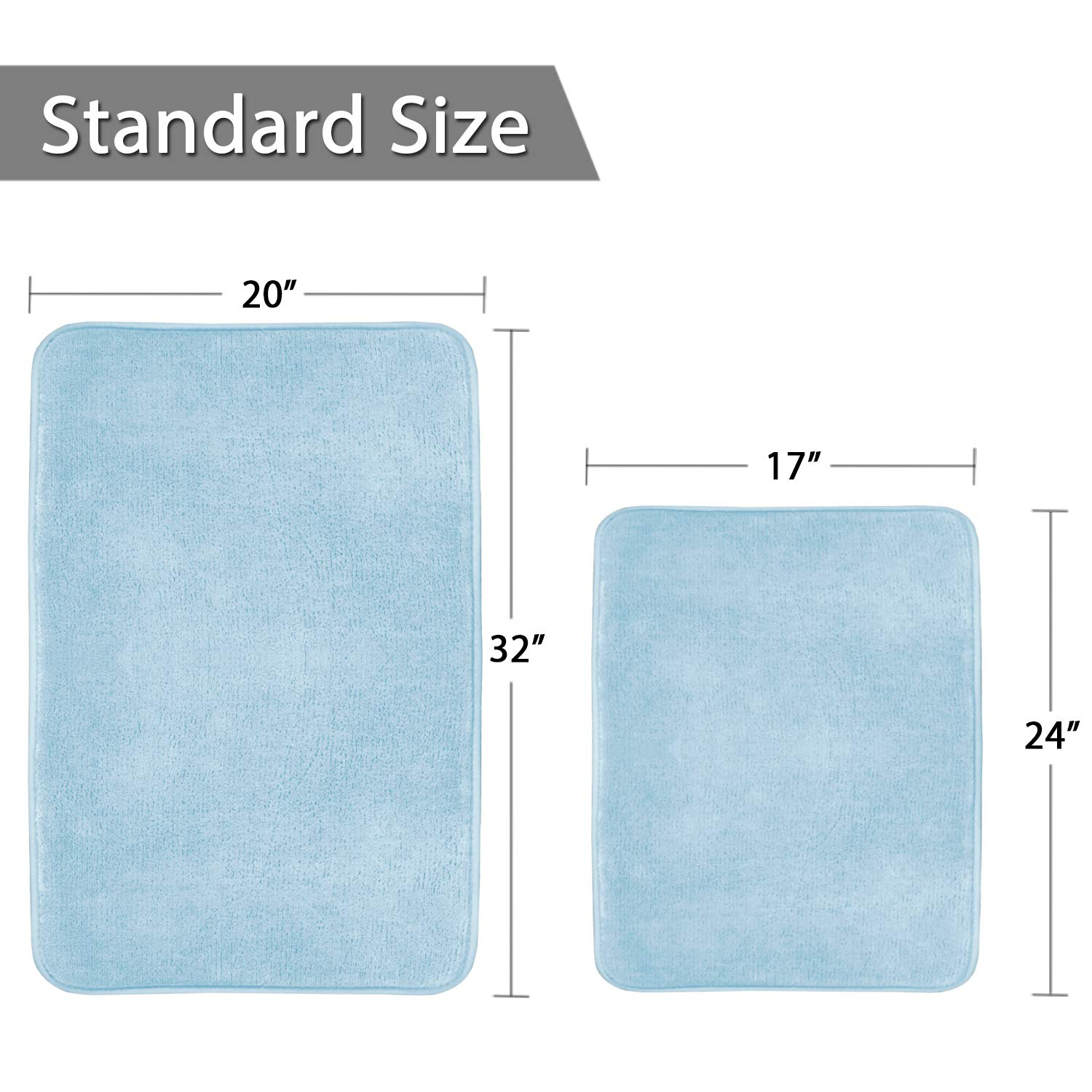 Memory Foam Bathroom Rug Set Ultra Soft Flannel Floor Mats Tufted Bath Rug with Non-Slip Backing Microfiber Door Mat for Kitchen/Entryway/Living Room (Pack 2-17'' x 24''/ 20'' x 32''- Sky Blue) by Flamingo P (Image #7)