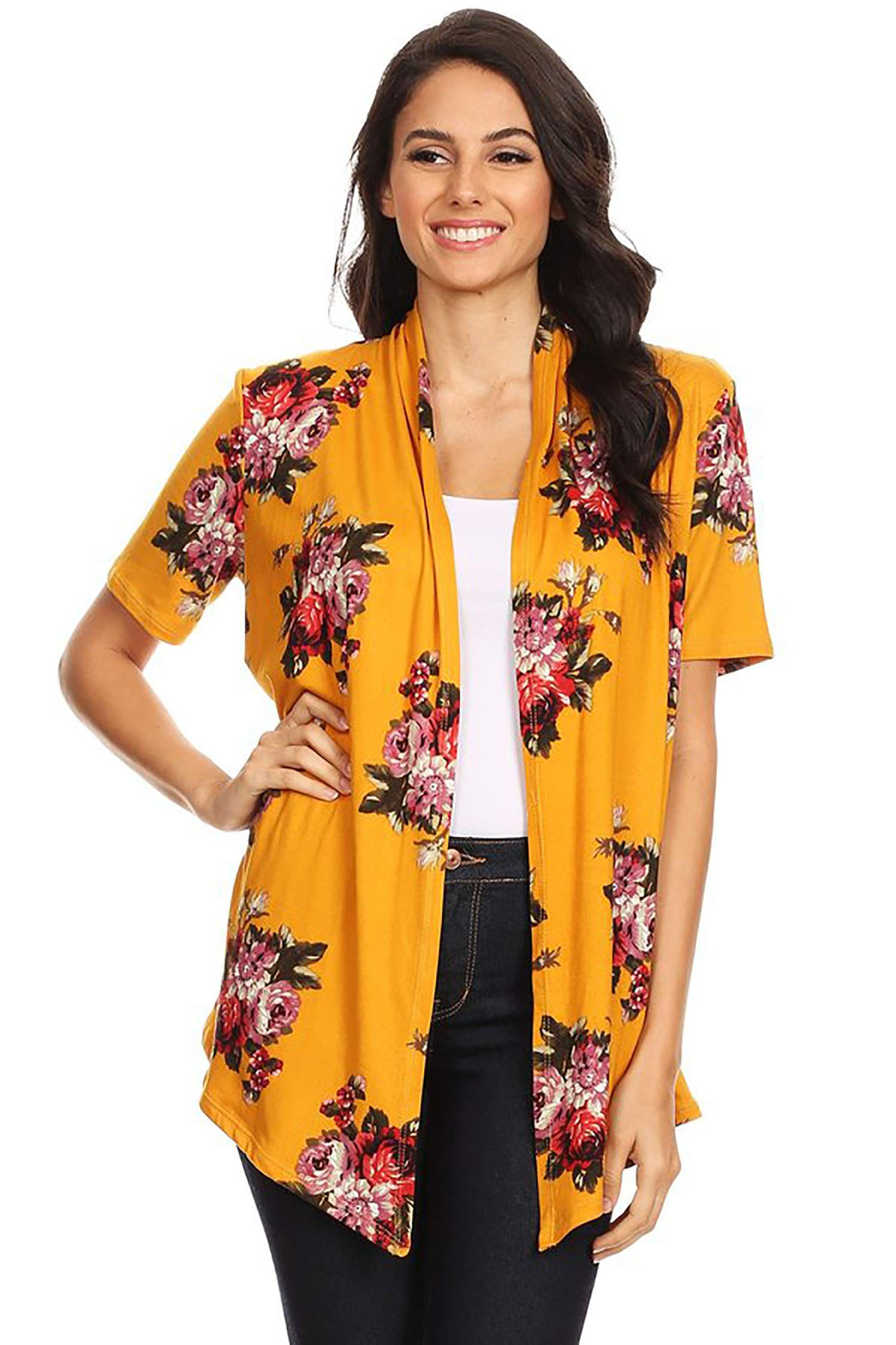 Solid & Printed Short Sleeves Open Front Draped Cardigan/MADE IN USA Floral Mustard Red 1XL