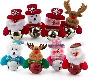 noband Christmas Ornaments Bells Decorations, Christmas Tree Ornaments, Small Christmas Decorations for Home, Plush Hanging with Bells Decor for Xmas Tree, Santa/Snowman/Reindeer/Bear/Elk (8 Pcs)