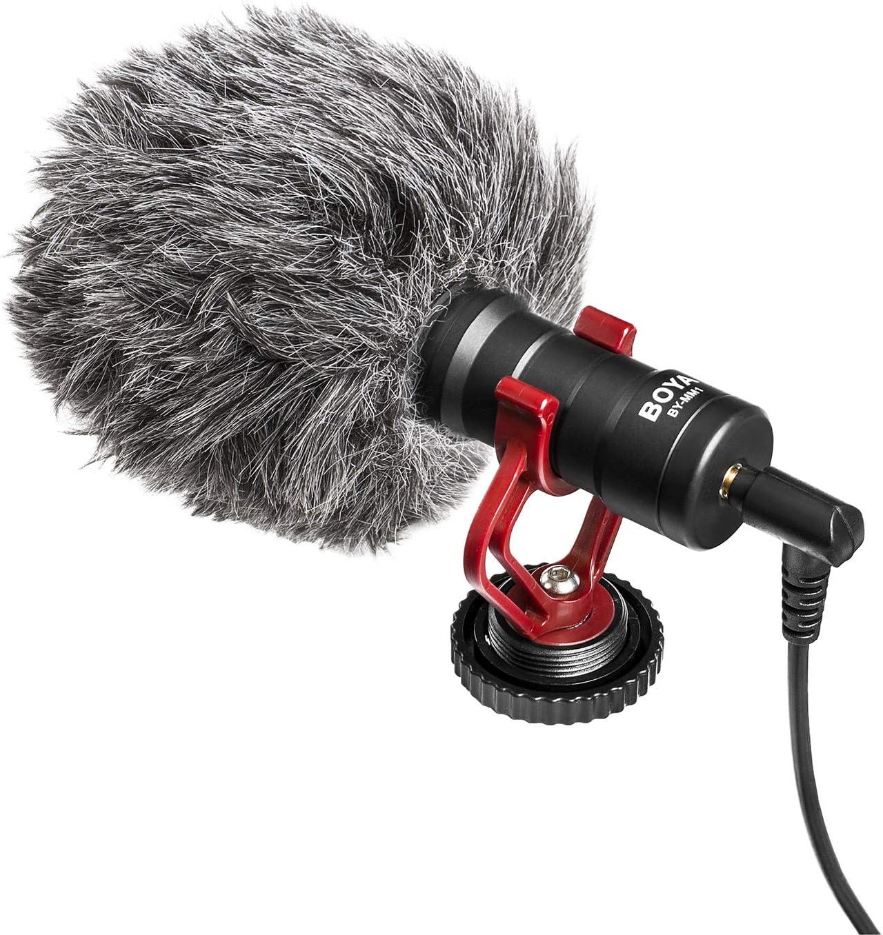 BOYA - Micrófono de vídeo compacto para cámara YouTube Vlogging Facebook Livestream Grabación compatible con micrófono iPhone Huawei Smartphone DJI Osmo Mobile Plus, para cámaras Canon Nikon Sony DSLR