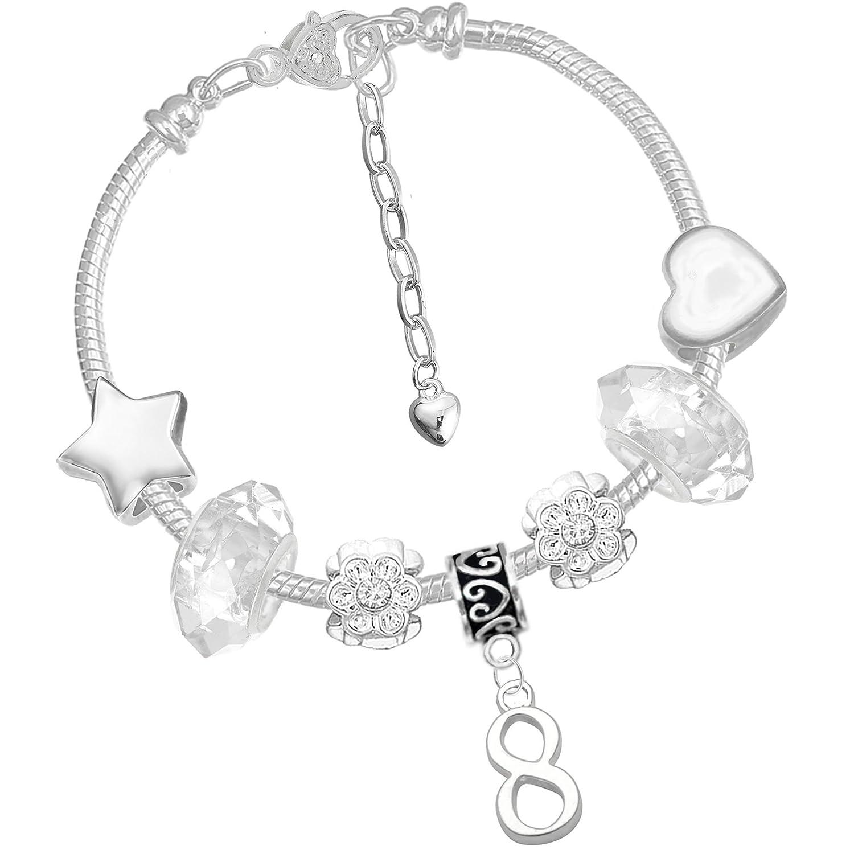 Girls 8th Birthday Sparkly Silver Crystal Charm Bracelet and Unicorn Birthday Card Gift Set Charm Buddy ® NXG-13 Ch-95 Q-44 16cm Pink