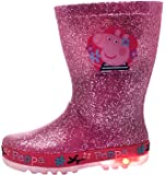 Peppa Pig Light Up Wellington Boots Flashing Lights Glitter Rain Wellies Size UK 4-10