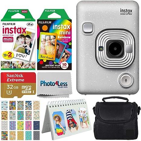 Fujifilm Instax Mini LiPlay Cámara híbrida instantánea (blanco piedra) + película instantánea (20 disparos) + película arcoíris (10 disparos) + 32GB microSDHC + funda + álbum de recortes + 20 marcos de pegatinas paquete de viaje: Amazon.es: Electrónica