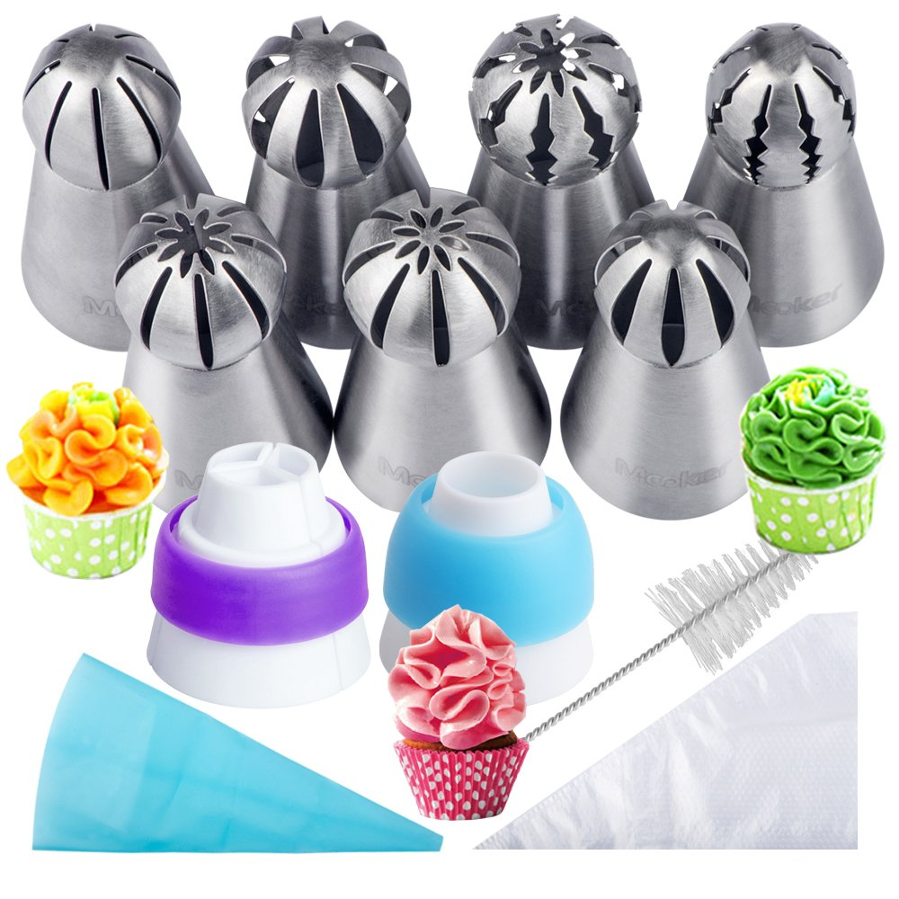 Russian Piping Tips 21PCS Baker's Kit,Set for Cake/Cupcake Decorating   7 Russian Tips, 10 Disposable Pastry Bags, 2 Coupler, 1 Reusable Silicone Pastry Bag,1 cleaning brush, E-book,by Mooker