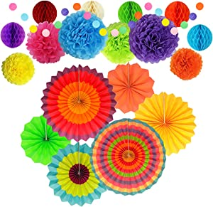 Party Decoration, Multi-Color Hanging Paper Fans, Tissue Pom Poms Flowers, Garlands String Polka Dot and Honeycomb Ball for Birthday Parties, Wedding Décor, Fiesta or Mexican Party (20 PCS)