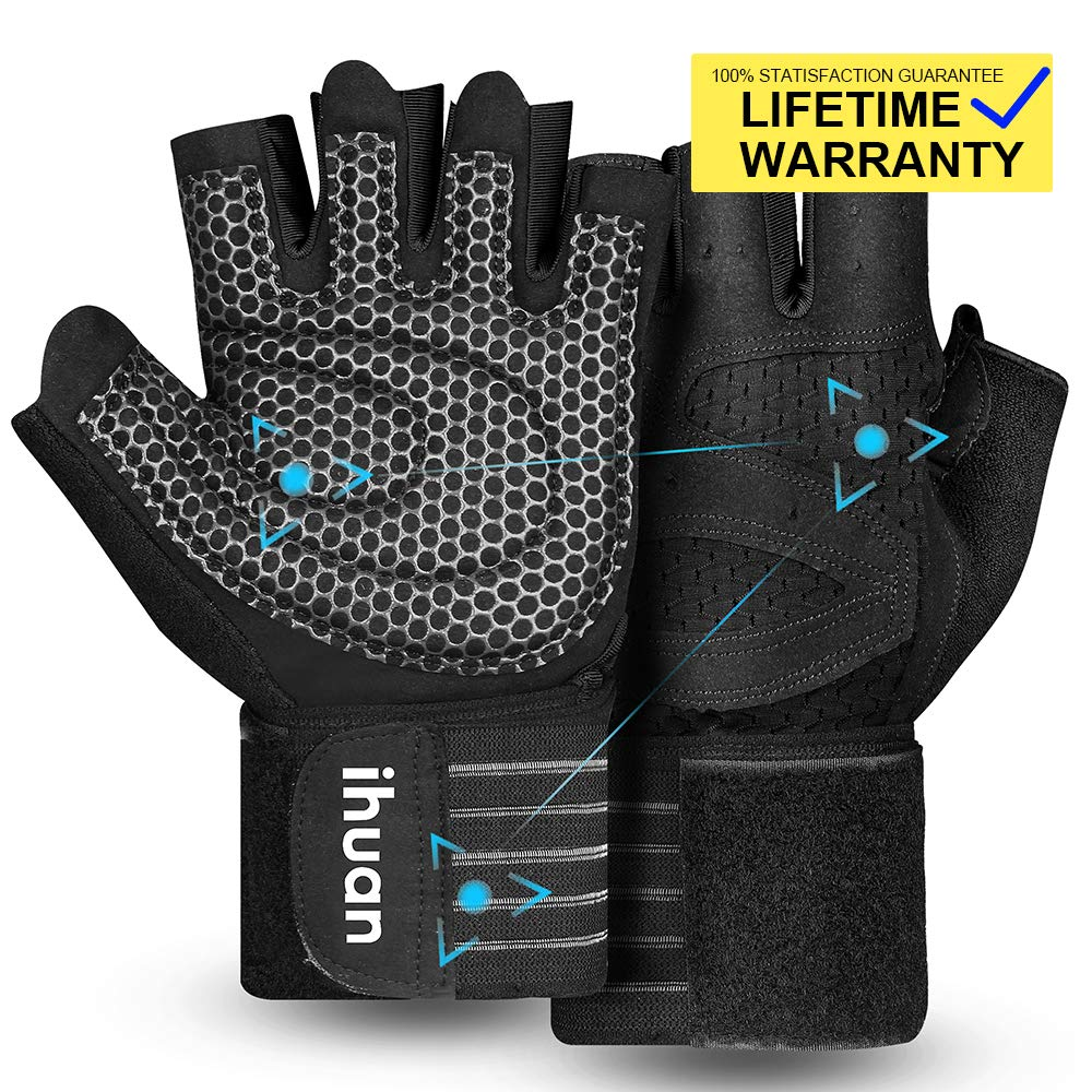 Updated 2019 Version Professional Ventilated Weight Lifting Gym Workout Gloves with Wrist Wrap Support for Men & Women, Full Palm Protection, for Weightlifting, Training, Fitness, Hanging, Pull ups by ihuan