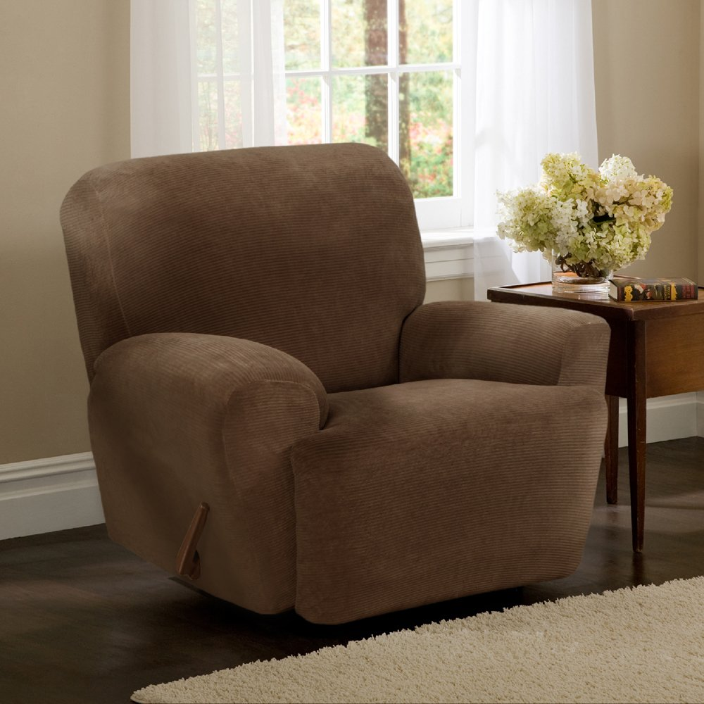 Amazon.com Maytex Collin Stretch 4-Piece Slipcover Recliner Mocha Home u0026 Kitchen : slipcovers for recliners with separate footrest - islam-shia.org