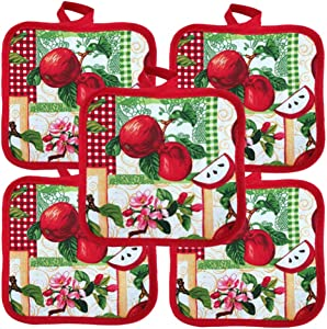 """Heat Resistant Pot Holders 6.5"""" Square Solid Color (Pack of 10)   Red Apple Theme Multipurpose Quilted Hot Pads Pot Holders for Everyday Quality Kitchen Cooking Chef Linens"""